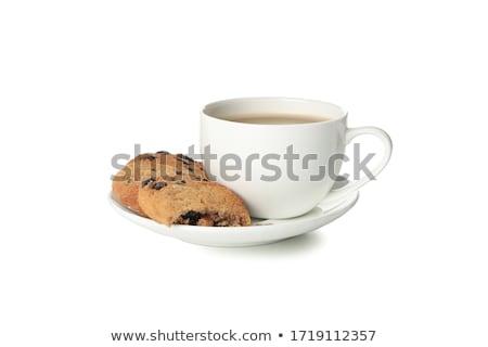 ストックフォト: 黒白 · クッキー · カップ · コーヒー · 3 · 食品