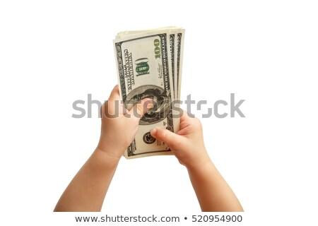Mão dólar isolado branco criança banco Foto stock © fanfo