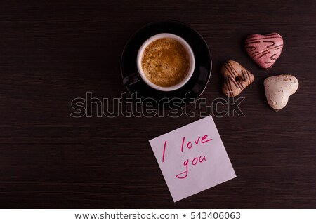 coffee and note with text happy valentines day stock photo © nito