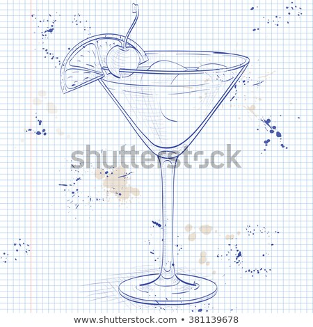Cocktail Whiskey sour on a notebook page Stock photo © netkov1