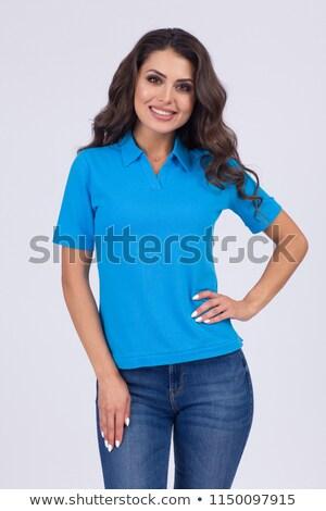 Vista lateral joven azul polo hombre Foto stock © feedough