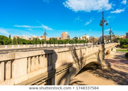Valencia híd Spanyolország fák kék épületek Stock fotó © lunamarina