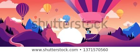 man flying in hot air balloon vector illustration stock photo © rastudio