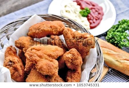 Barbecue tyúk szárnyak ropogós francia kenyér édes Stock fotó © Digifoodstock