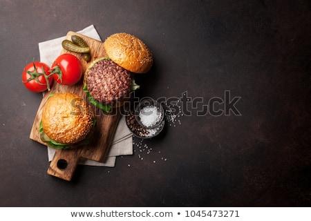 hamburger · houten · tafel · voedsel · hout · kaas - stockfoto © wavebreak_media