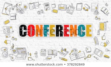 Konferencia fehér modern vonal stílus illusztráció Stock fotó © tashatuvango