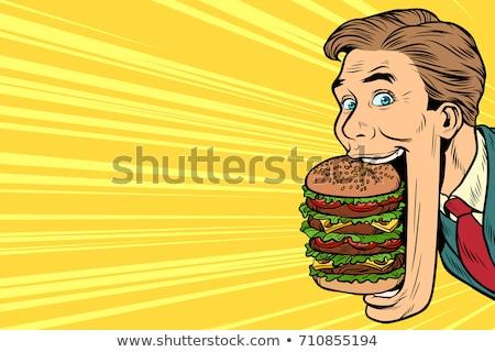 飢えた 男 巨人 ハンバーガー 屋台の食べ物 口 ストックフォト © studiostoks