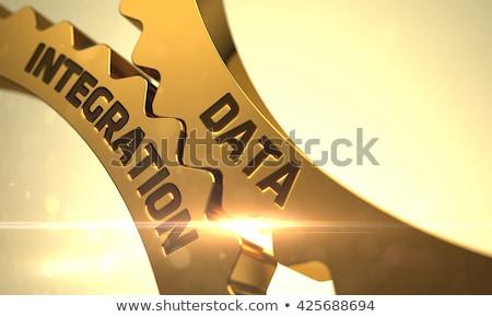 Stockfoto: Gegevens · integratie · gouden · metalen · versnellingen