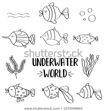 doodle fishes set for colorig stock photo © balasoiu