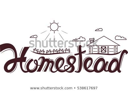 Logoterv tipográfia illusztráció szó vidéki jelenet terv Stock fotó © lenm