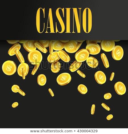 Kaszinó illusztráció rulettkerék zuhan arany érmék játszik Stock fotó © articular
