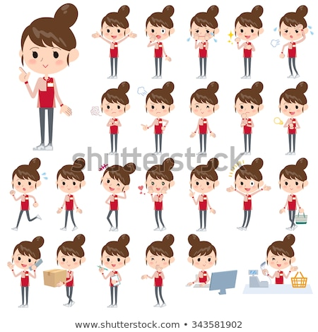 Convenience store red uniforms women Stock photo © toyotoyo