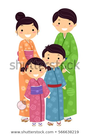 Stickman Family Traditional Japanese Clothes Stock photo © lenm