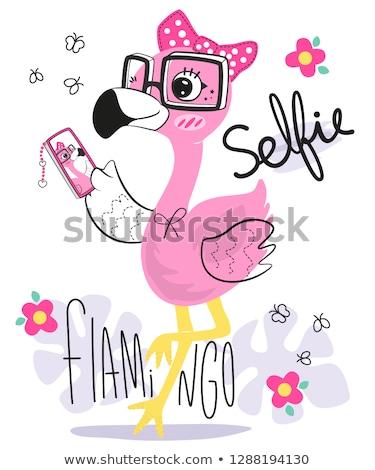 Glimlachend cartoon flamingo illustratie gelukkig vogel Stockfoto © cthoman