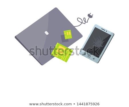 バナー 壊れた 電子 孤立した 白 ストックフォト © robuart