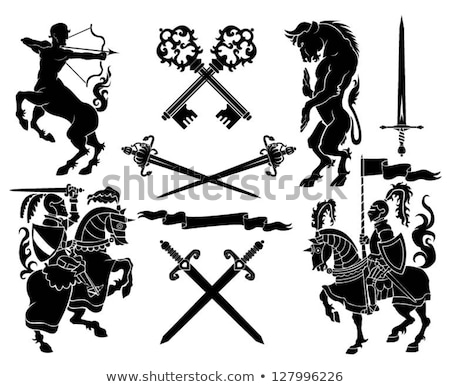 Cartoon zwarte ridder teken illustratie zwaard Stockfoto © cthoman