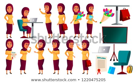 Teen Girl Poses Set Vector. Arab, Muslim. Fun, Cheerful. For Web, Poster, Booklet Design. Isolated C Stock photo © pikepicture