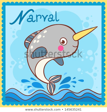 Narval is for N Letter Cartoon Children Alphabet Stock photo © robuart