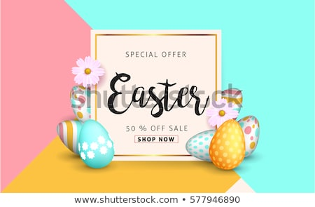 easter sale banner with beautiful colorful eggs vector spring illustration stock photo © natali_brill