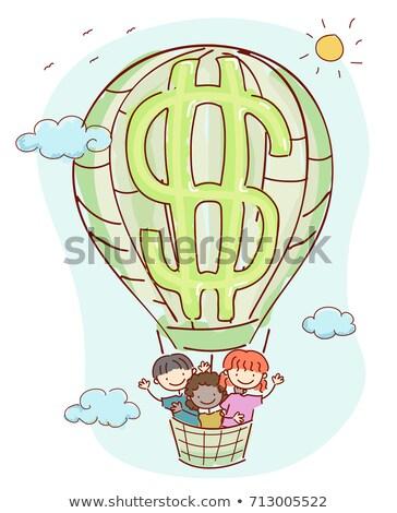 Stickman Kids Air Balloon Dollar Illustration Stock photo © lenm