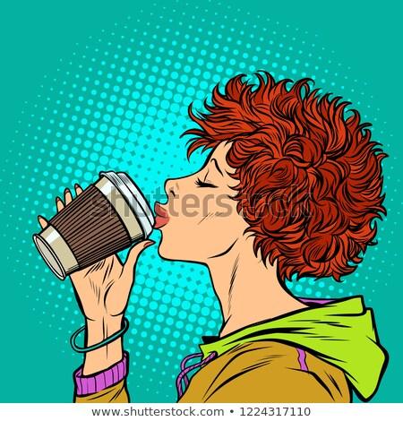 modern woman drinks a paper Cup of coffee. Girls 80s Stock photo © studiostoks