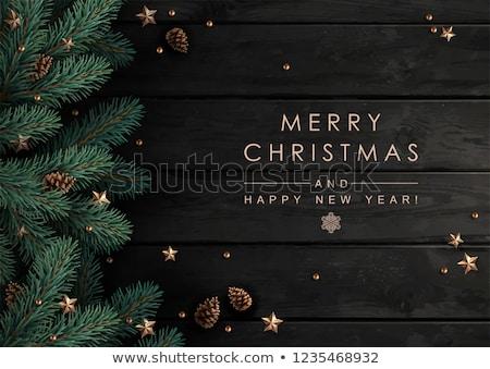 Goud christmas pijnboom herten ornament kaart Stockfoto © cienpies