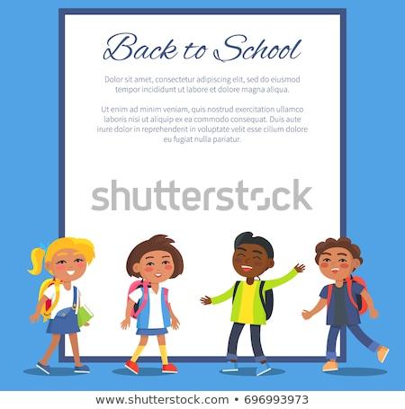 Indian Girl School Kid Set Vector. Primary School Child. School Student. Cheer. Hindu. Asian. For Pr Stock photo © pikepicture