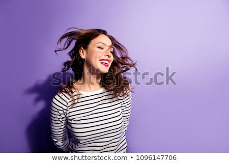 Foto stock: Bela · mulher · lábios · vermelhos · voar · cabelo · retrato · saudável