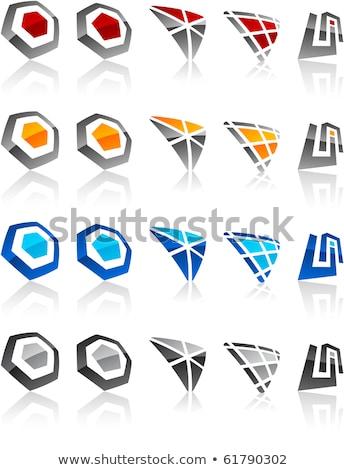 abstract icon red black business hexagon logo stock photo © blaskorizov