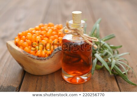 Sea buckthorn oil in a bowl with fresh sea buckthorn berries Stock photo © madeleine_steinbach