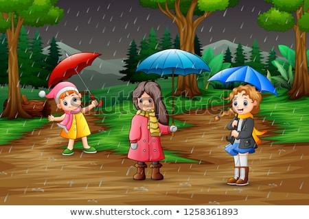 雨の シーズン 3  子供 雨 実例 ストックフォト © colematt