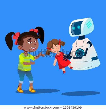 robot offering a stuffed toy to little cute girl vector isolated illustration stock photo © pikepicture