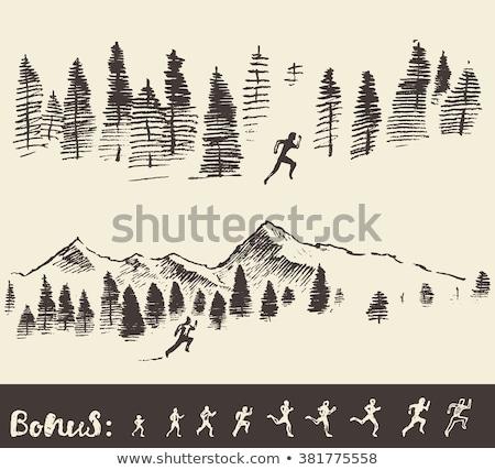Csoport fiatalok fut maraton erdő természet Stock fotó © boggy