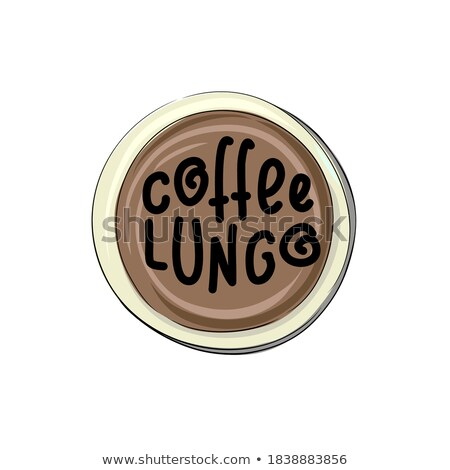 Lungo lettering. Vector illustration of handwritten lettering. Vector elements for coffee shop, mark stock photo © bonnie_cocos