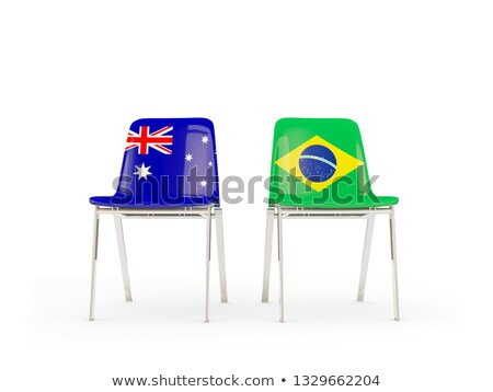 Iki sandalye bayraklar Avustralya Brezilya yalıtılmış Stok fotoğraf © MikhailMishchenko