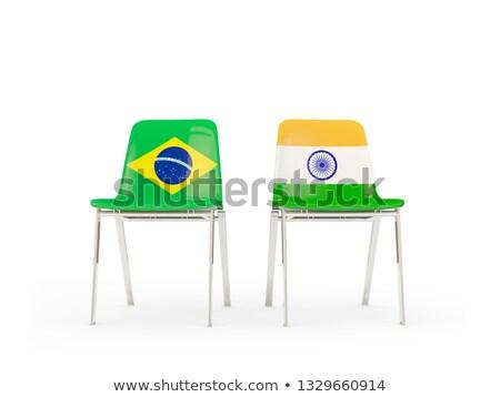 Deux chaises drapeaux Inde Brésil isolé Photo stock © MikhailMishchenko