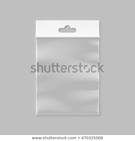 Plastic Hang Pouch Vector. Transparent Pocket Wrap. Empty Bagged Product Polyethylene Mock Up Templa Stock photo © pikepicture