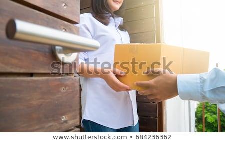 Paket · Frau · glücklich · Tür · Haus - stock foto © snowing