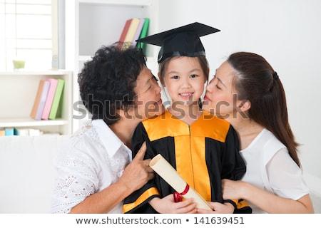 Aranyos szülő gyermek érettségi szertartás illusztráció Stock fotó © Blue_daemon
