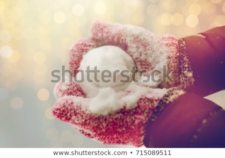 close up of woman holding snowball outdoors Stock photo © dolgachov