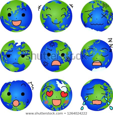 Facial expression of a round blue gradation earth set Stock photo © Blue_daemon