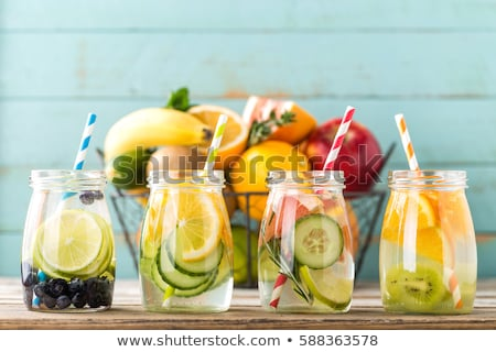 Photo stock: Variety of  Detox infused water. Diet. Healthy drink.