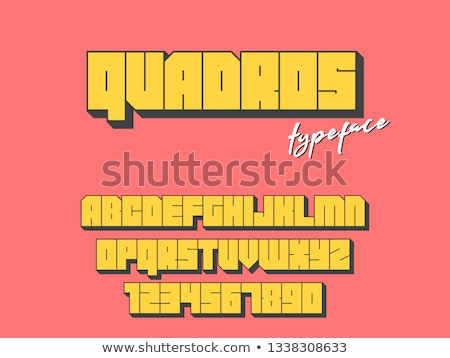 Yellow outlined font Number 9 NINE 3D Stock photo © djmilic
