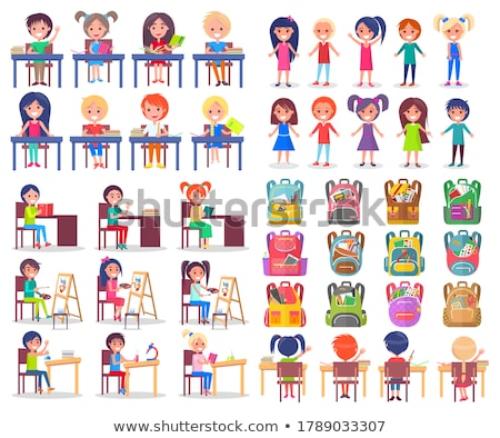 Classmates and Backpack Sticker, School Vector Stock photo © robuart