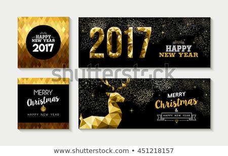 Karácsony új év arany alacsony szarvas kártya Stock fotó © cienpies