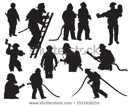 brandweerman · brand · schouder · zwart · wit · illustratie · vector - stockfoto © mayboro