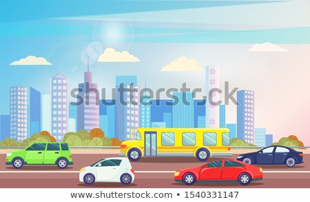 City Street with Busy Traffic, Cars on Road Vector Stock photo © robuart