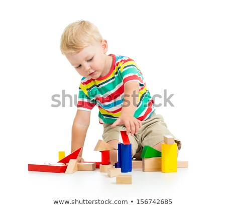 Smiling Baby Playing with Wooden Blocks Isolated Stock photo © robuart