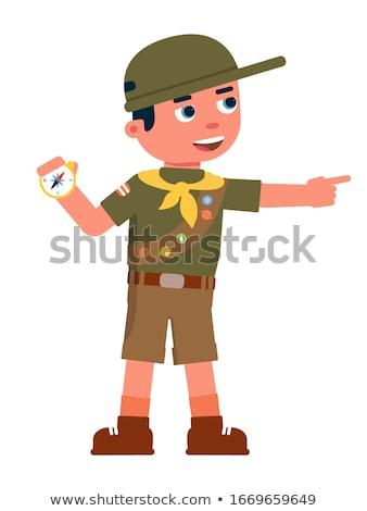 Menino safári uniforme isolado ilustração sorrir Foto stock © bluering