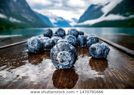Blueberry antioxidants on a wooden table on a background of Norw Stock photo © cookelma